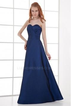 A-Line Sweetheart Pleats Taffeta Floor-Length Sleeveless Long Blue Bridesmaid Dresses 02010210