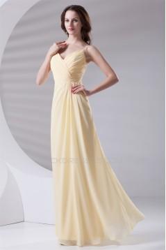 V-Neck Floor-Length Chiffon Spaghetti Strap Long Bridesmaid Dresses 02010212