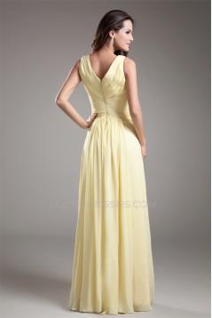 V-Neck Sheath/Column Chiffon Long Bridesmaid Dresses 02010213