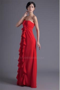 Wholesale Chiffon Cascading Ruffles Long Red Bridesmaid Dresses 02010214