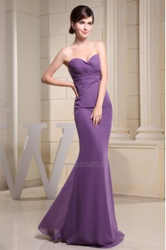 Sheath/Column Sleeveless Criss Cross Chiffon Long Bridesmaid Dresses 02010215