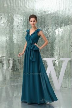 A-Line Chiffon V-Neck Sleeveless Long Bridesmaid Dresses 02010217
