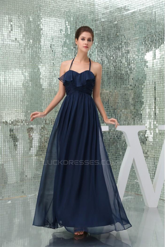 A-Line Halter Sleeveless Chiffon Long Bridesmaid Dresses 02010219