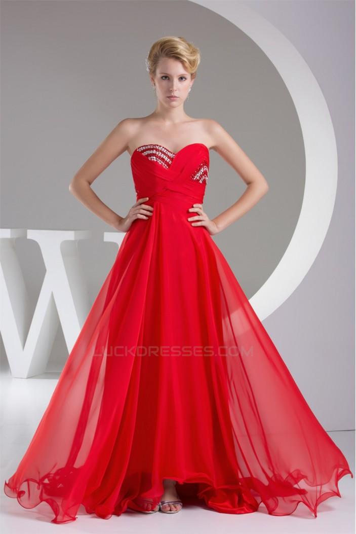 A-Line Sweetheart Beaded Long Red Chiffon Bridesmaid Dresses 02010220