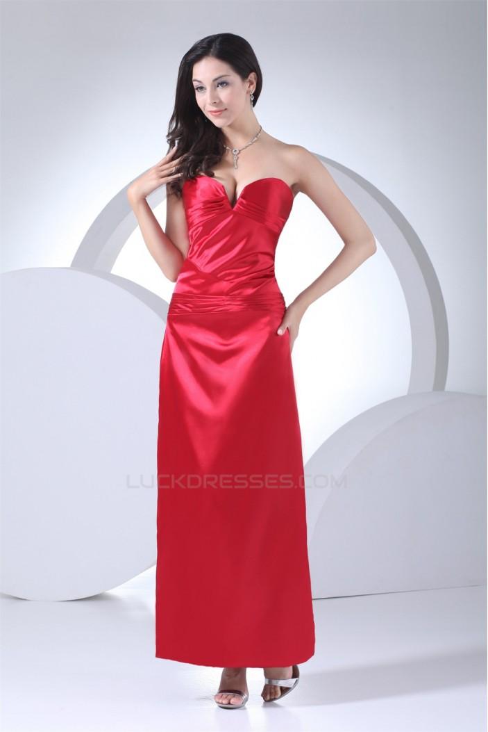 Sleeveless Sheath/Column Ankle-Length Satin Red Bridesmaid Dresses 02010227