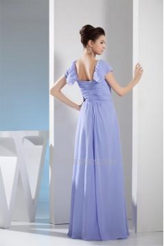 A-Line Square Pleats Cap Sleeve Long Bridesmaid Dresses 02010229