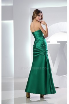 Sleeveless Sweetheart Satin Ruched Ankle-Length Long Green Bridesmaid Dresses 02010232