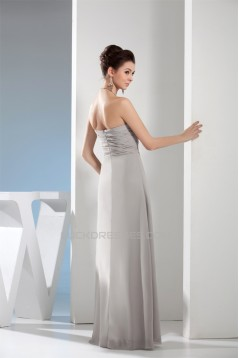 Strapless Chiffon Silk like Satin Ruched Best Long Bridesmaid Dresses 02010235