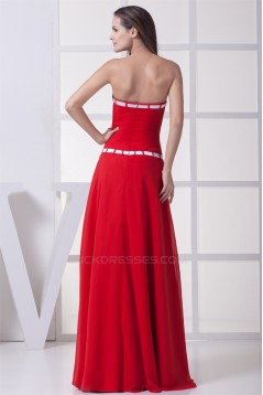 A-Line Strapless Satin Chiffon Sleeveless Long Red Bridesmaid Dresses 02010236