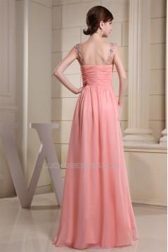 A-Line Sleeveless Straps Beading Chiffon Long Bridesmaid Dresses 02010237