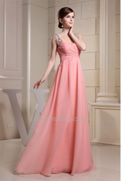A-Line Sleeveless Straps Beading Chiffon Long Bridesmaid Dresses 02010237
