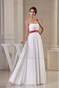 A-Line Strapless Beading Chiffon Long White Bridesmaid Dresses 02010238