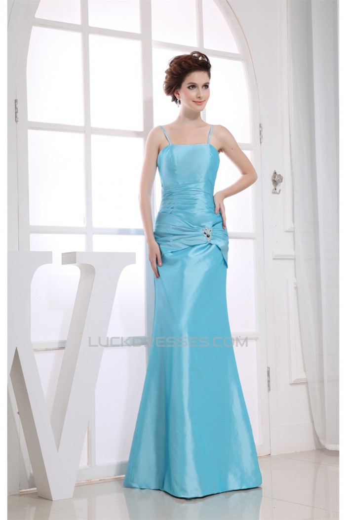 Taffeta Floor-Length Beading Spaghetti Straps Bridesmaid Dresses 02010243