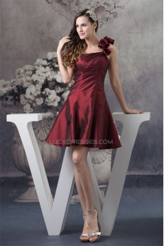 A-Line Taffeta Sleeveless One-Shoulder Falbala Short Bridesmaid Dresses 02010251