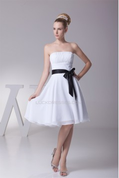 Amazing Pleats Strapless Chiffon Short Black White Bridesmaid Dresses 02010254