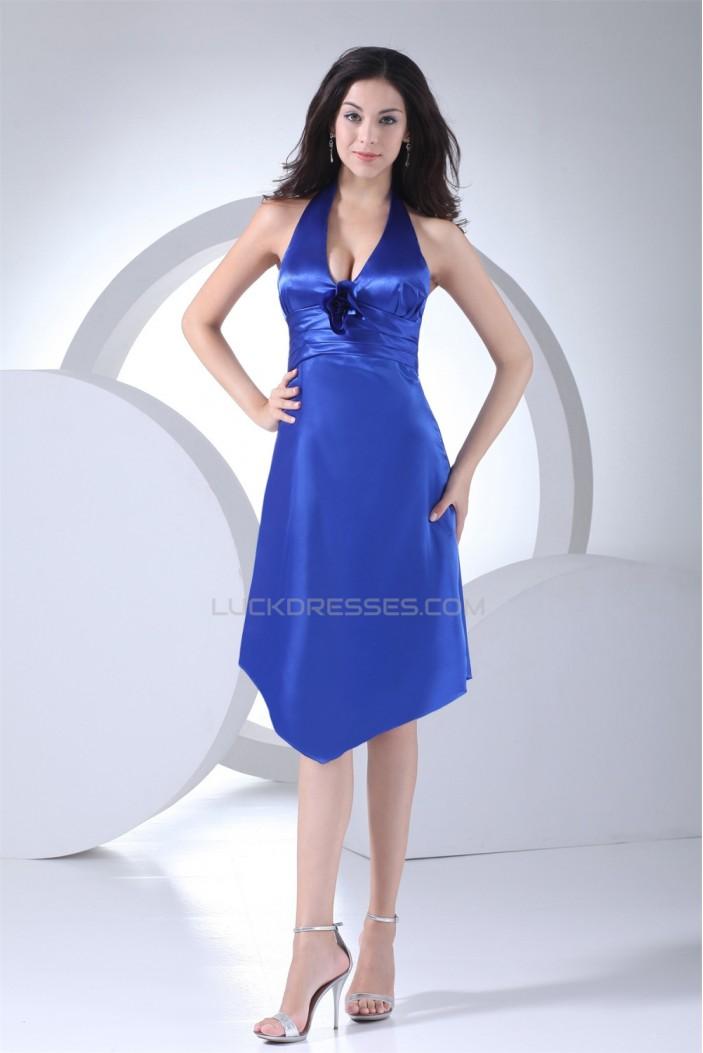 Amazing Sleeveless A-Line Halter Short Blue Bridesmaid Dresses 02010255