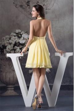 Beading A-Line Halter Sleeveless Chiffon Silk like Satin Short Yellow Bridesmaid Dresses 02010257