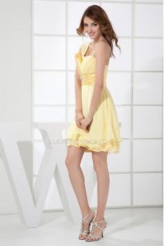 Beading Sheath/Column Knee-Length One-Shoulder Short Yellow Bridesmaid Dresses 02010258