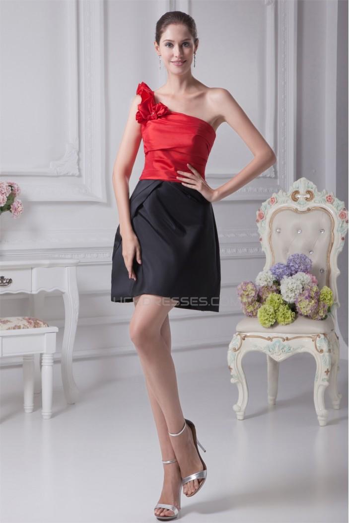 Beading Short/Mini Sleeveless Sheath/Column Black Red Bridesmaid Dresses 02010260