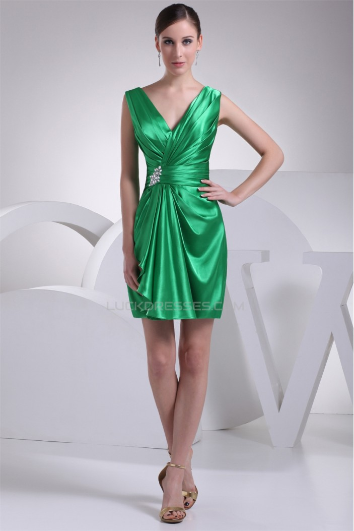 Beautiful Sheath/Column Sleeveless Beading V-Neck Short Green Bridesmaid Dresses 02010262
