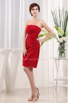 Breathtaking Chiffon Silk like Satin Ruffles Strapless Short Red Bridesmaid Dresses 02010264