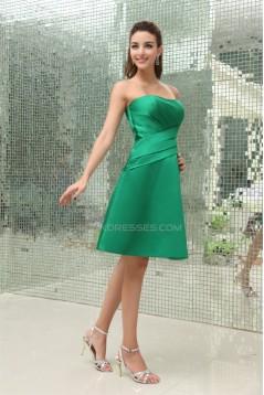 A-Line Strapless Short Green Soft Sweetheart Satin Ruffles Bridesmaid Dresses 02010265