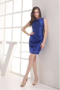 Charming Satin Criss Cross Sleeveless Short/Mini Blue Bridesmaid Dresses 02010267