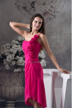 One-Shoulder Sheath/Column Short Chiffon Bridesmaid Dresses 02010270