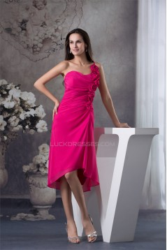 One-Shoulder Sheath/Column Short Chiffon Bridesmaid Dresses 02010270