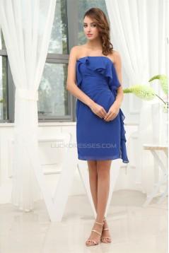 Chiffon Ruched Sheath/Column Short Blue Bridesmaid Dresses 02010271
