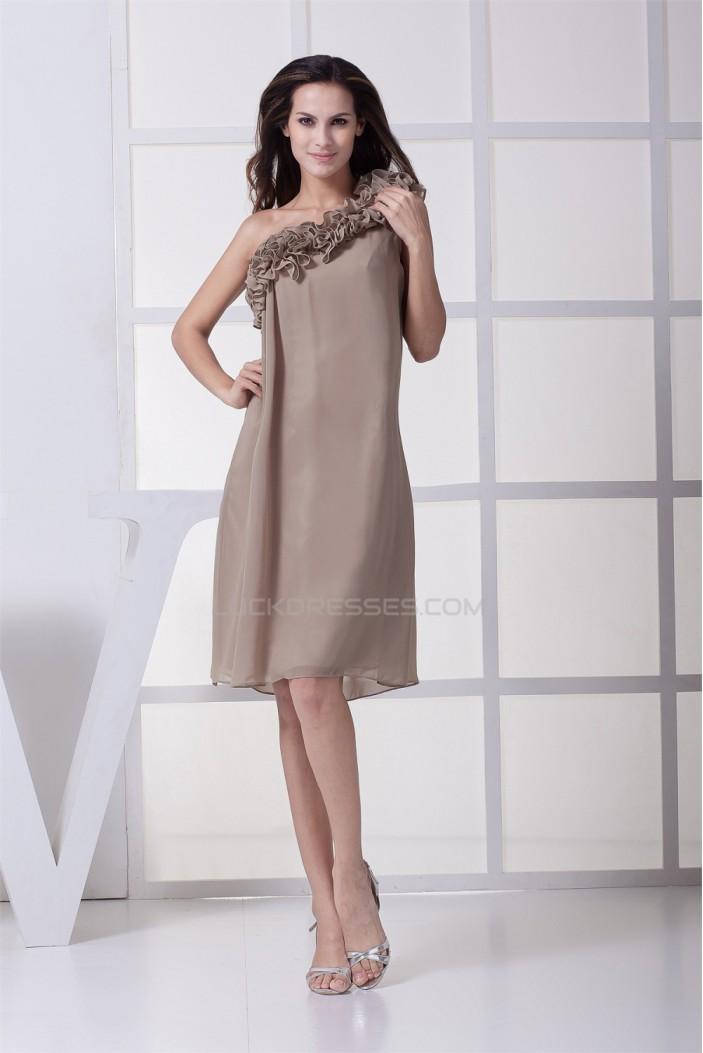 Chiffon Ruffles Knee-Length One-Shoulder Short Bridesmaid Dresses 02010272