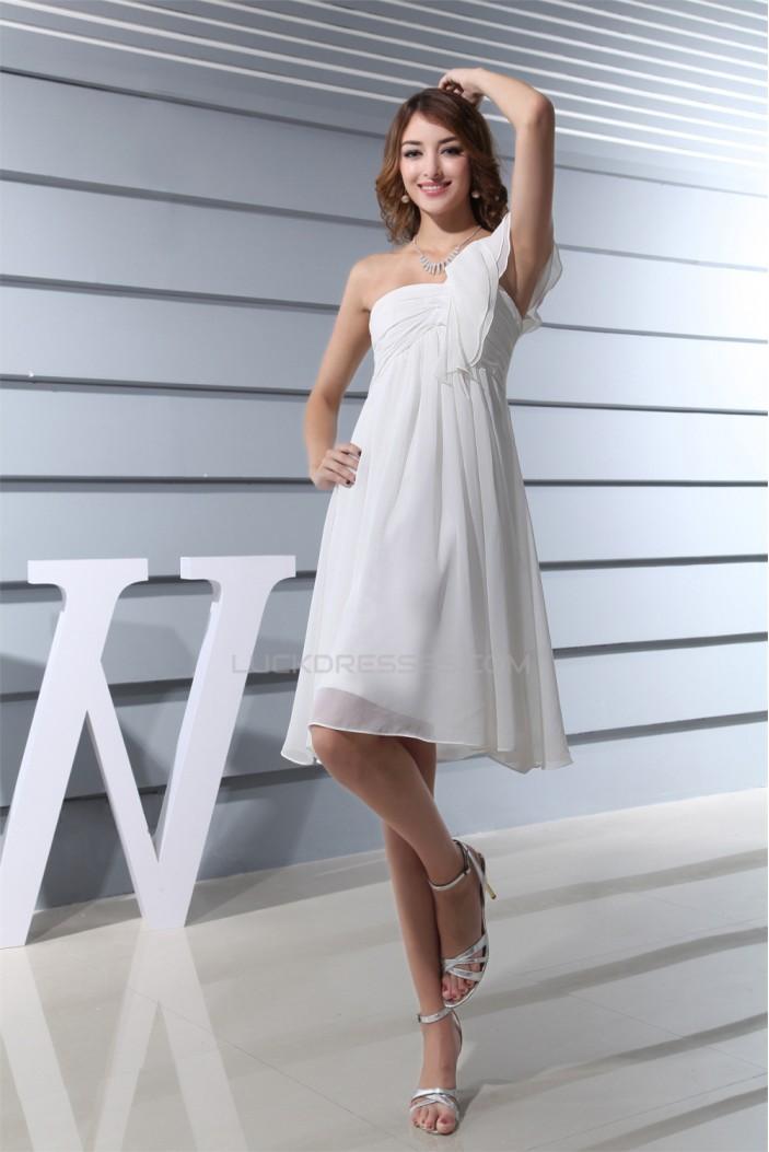 Empire One-Shoulder Short White Ruffles Bridesmaid Dresses 02010277