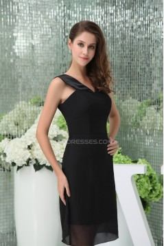Chiffon Straps Sheath/Column Short Black Bridesmaid Dresses 02010278