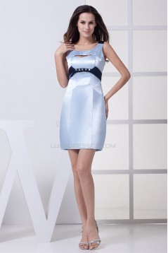 Elastic Silk like Satin Short/Mini Sheath/Column Bridesmaid Dresses 02010284