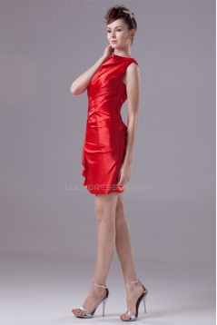 Elastic Woven Satin Sheath/Column Short/Mini Red Bridesmaid Dresses 02010287