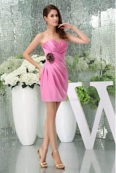 Elegant Satin Criss Cross Short/Mini Pink Sweetheart Bridesmaid Dresses 02010288