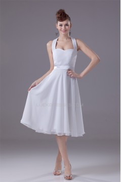 A-Line Halter Fixed Belt Tea Length Sleeveless Short White Bridesmaid Dresses 02010289