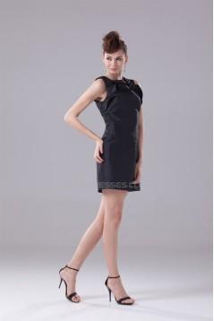 Great Short/Mini Taffeta A-Line Scoop Falbala Black Bridesmaid Dresses 02010291