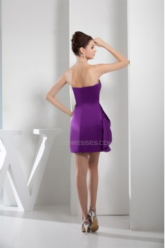 A-Line Great Sleeveless Satin Short/Mini Pleats Purple Bridesmaid Dresses 02010292