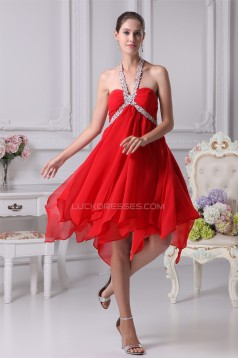 A-Line Halter Chiffon Asymmetrical Beaded Short Red Bridesmaid Dresses 02010293