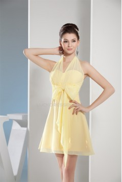 A-Line Halter Short/Mini Chiffon Bridesmaid Dresses 02010295