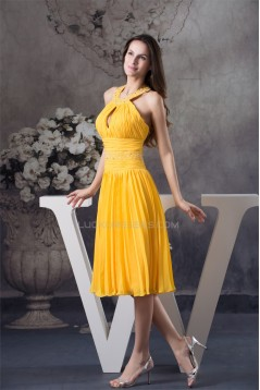 Halter Under Knee Beading A-Line Chiffon Short Yellow Evening/Bridesmaid Dresses 02010296
