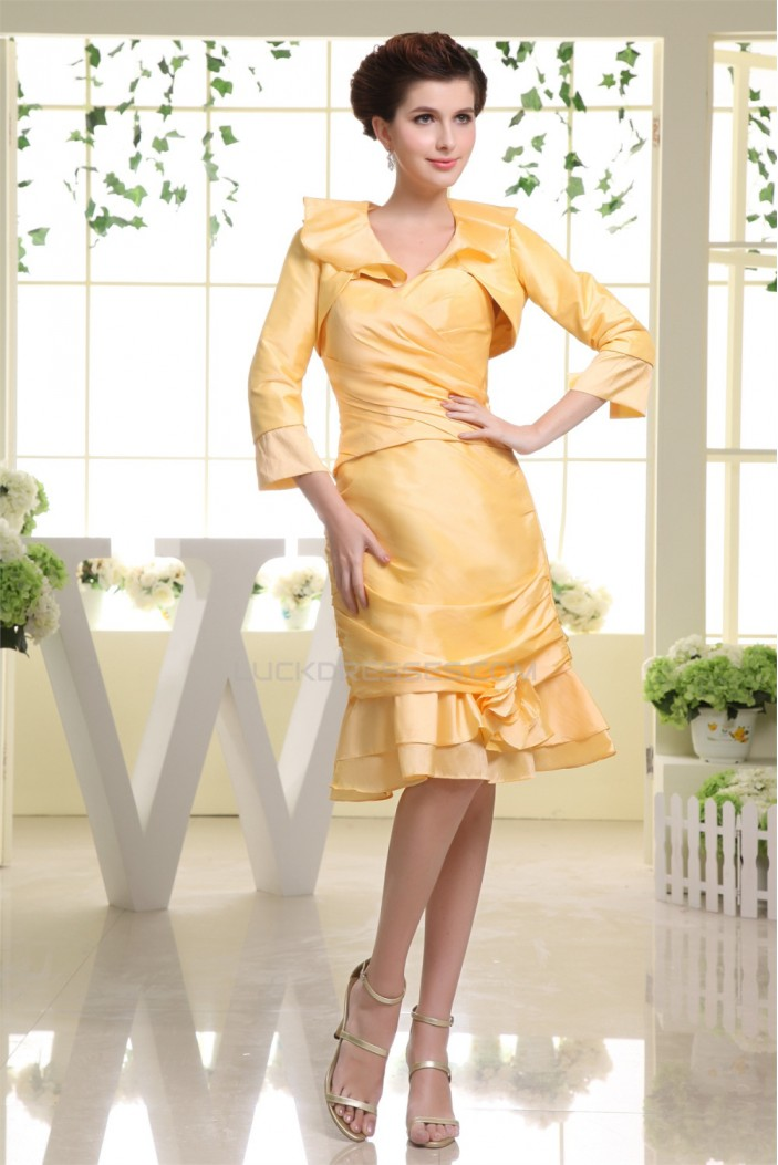 Handmade Flowers Sheath/Column Knee-Length Bridesmaid Dresses with A Jacket 02010297