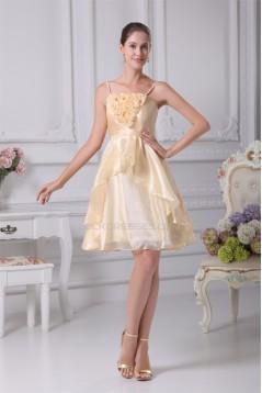 Handmade Flowers Tulle Short Bridesmaid Dresses 02010298