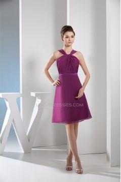 A-Line Knee-Length Chiffon Short Bridesmaid Dresses 02010300