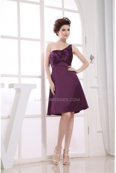 Knee-Length A-Line Criss Cross Elastic Woven Satin Short Purple Bridesmaid Dresses 02010301