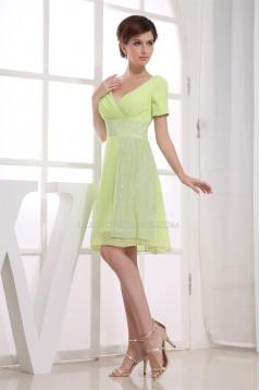 Knee-Length A-Line Sequins Short Chiffon Bridesmaid Dresses 02010302