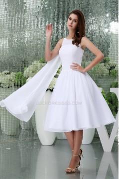 Knee-Length Chiffon A-Line Short White Bridesmaid Dresses 02010303