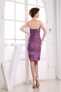 Knee-Length Sheath/Column Sleeveless Strapless Short Bridesmaid Dresses 02010306