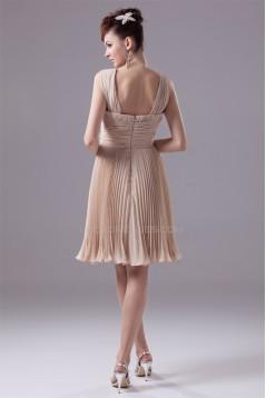 A-Line Knee-Length Pleated Chiffon Short Bridesmaid Dresses 02010307